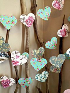 10 ft Paper Heart Garland - Vintage Shabby Chic Roses - wedding decoration…