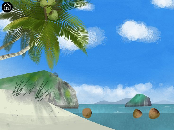 Coconut scene from Bloom app. Here children learn how coconuts spread in nature.