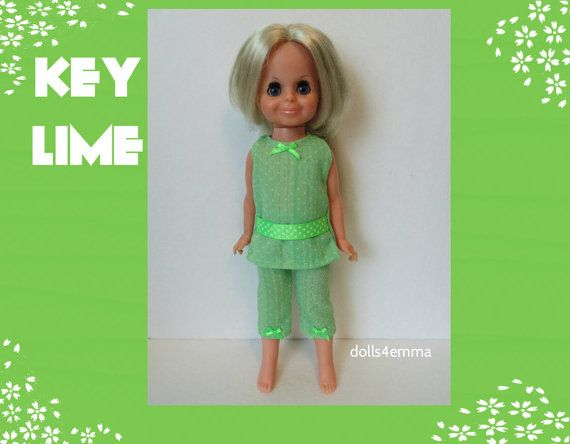 Vintage ideale VELVET Doll kleding - Lime-groene tuniek en Capri broek - handgemaakte Custom Fashion - door dolls4emma