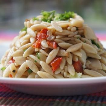 SUN-DRIED TOMATOES ORZO-I love, love, love orzo so I can not wait to try this recipe.  I think it would be great with any of our Extra Virgin Olive Oils, Tuscan Herb Olive Oil or Garlic Olive Oil!