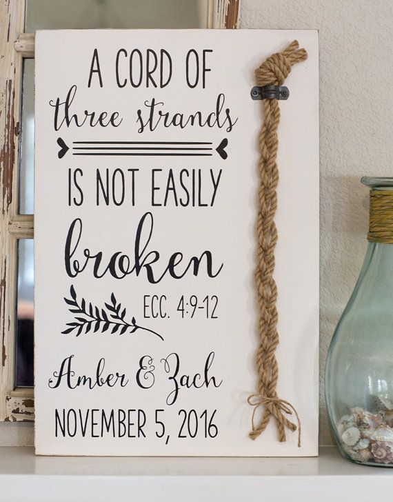 Wedding Sign Cord of Three Strands Wedding Ceremony Unity Ceremony Unity Candle Alternative