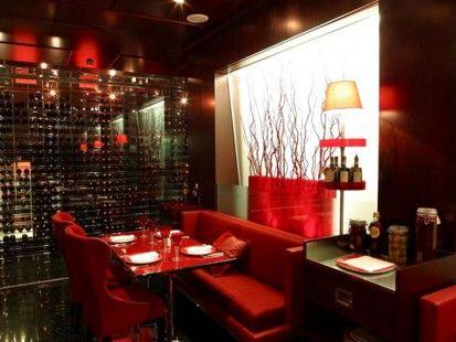 modern red restaurant interior decorating design idea wall lighting in