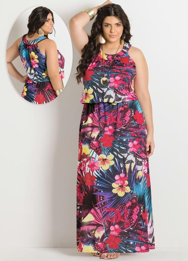 Vestido Longo Estampa Tropical Plus Size - Posthaus