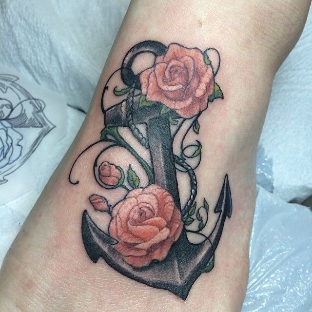 Anchor and roses via tumblr tattoo nautical for Anchor with roses tattoo
