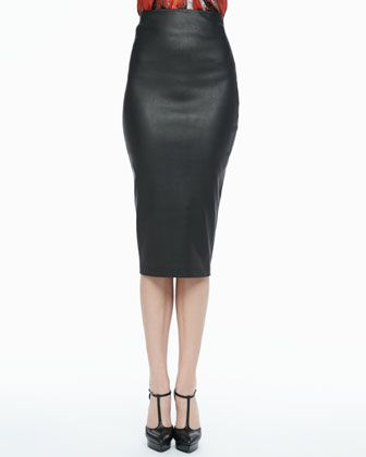 $595, Black Leather Pencil Skirt: Robert Rodriguez High Waist Leather Pencil Skirt. Sold by Neiman Marcus. Click for more info: https://lookastic.com/women/shop_items/90842/redirect