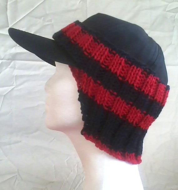 baseball cap ear warmer crochet pattern items similar red black team spirit ready ship knitting free
