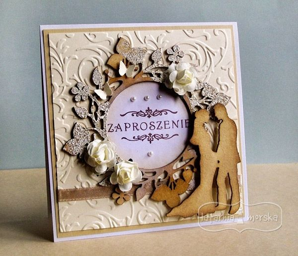wedding invitation with chipboard ans stamp  http://www.hurt.scrap.com.pl/category/tekturki