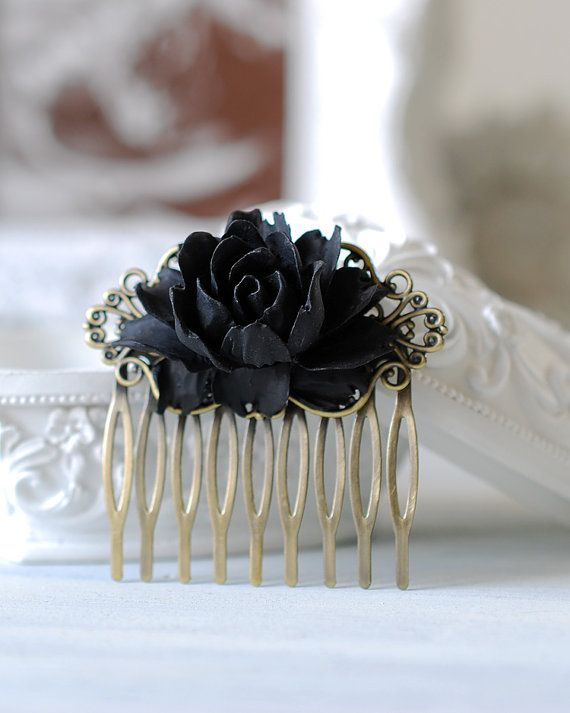 Black Rose Flower Hair Comb. Goth Gothic Hair Accessory by LeChaim