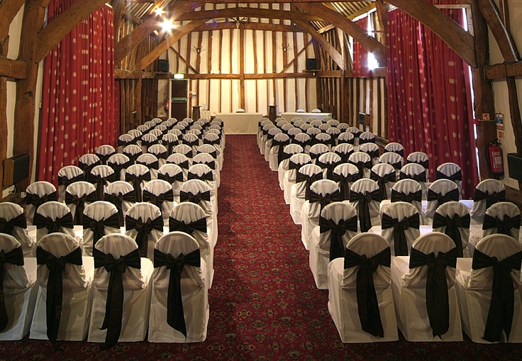 Chocolate Satin Bows on White Chair Covers
