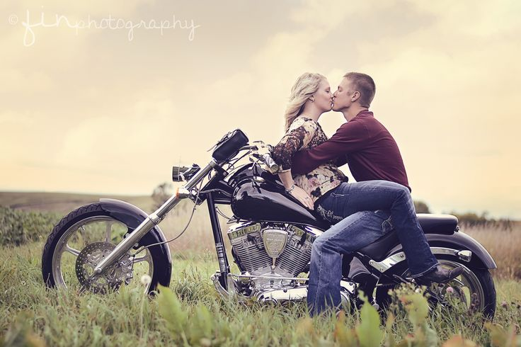 ©FinPhotography | Sioux City, IA Photographer Engagement Photography Motorcycle Engagement photo