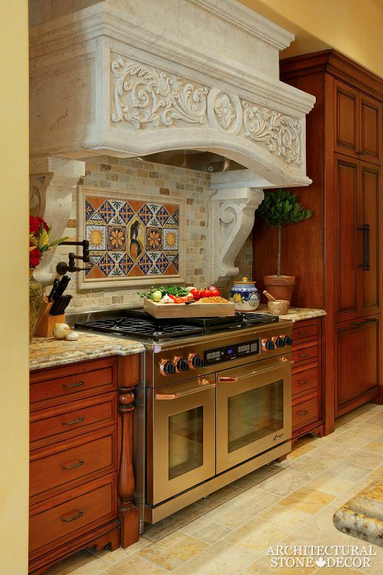 #Tuscan #style #kitchen #hood #hand #carved #salvaged #reclaimed #old #world #rustic #limestone Canada Vancouver BC