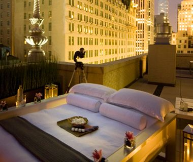 Sleep Under the Stars in NYC ~ AKA Central Park, a luxury residence/hotel, is offering a night out on the 1,000-square-foot wrap-around terrace of its 17th floor penthouse suite. You'll get cocktails, s'mores to toast in front of the fireplace, a telescope and more. The price? A mere $1,999.