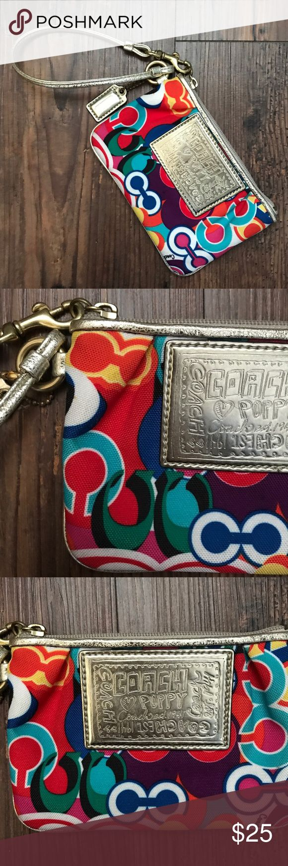 COACH POPPY WRISTLET Coach poppy wristlet  - Vibrant colored Coach wristlet  - Has Coach ID tag - All gold hardware - Some wear and scratches from use (not noticeable) - A few stains - pictured  *open to reasonable offers* Coach Bags Clutches & Wristlets