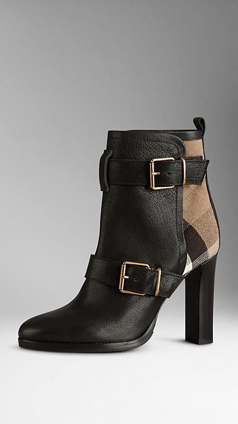 Burberry Check Panel Belted Buffalo Leather Boots