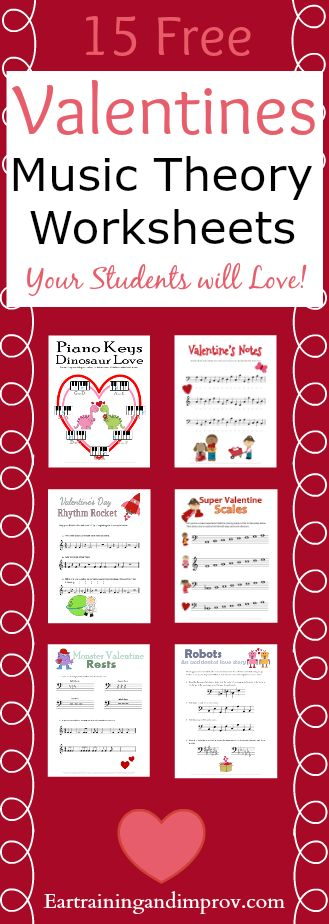 Valentines Day Music Worksheets--large collection of super cute free printables for kids!