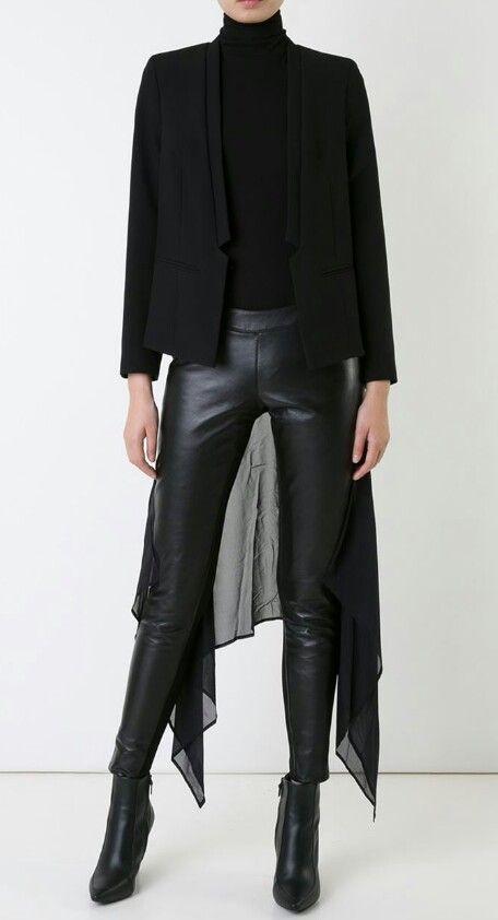 gareth pugh chiffon panel skinny trousers