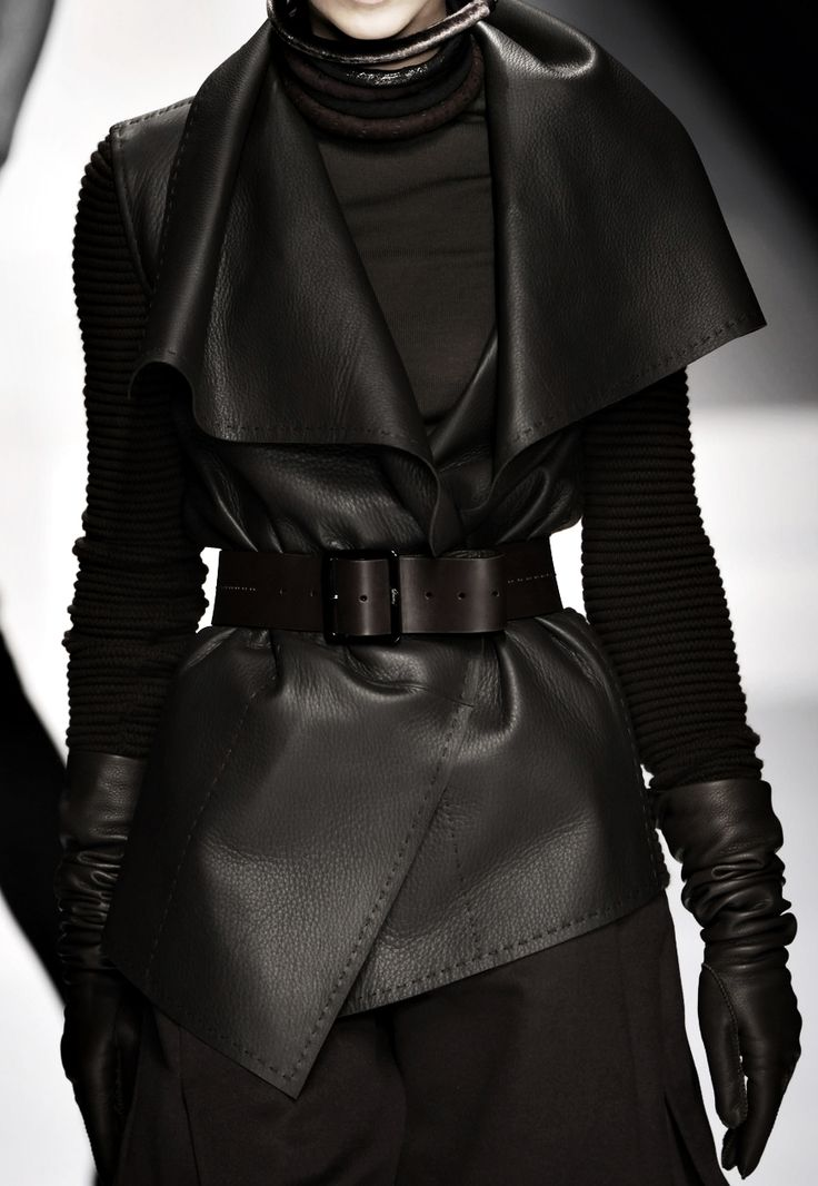 Runway leather style***V. Loving the combination of textures and layers.