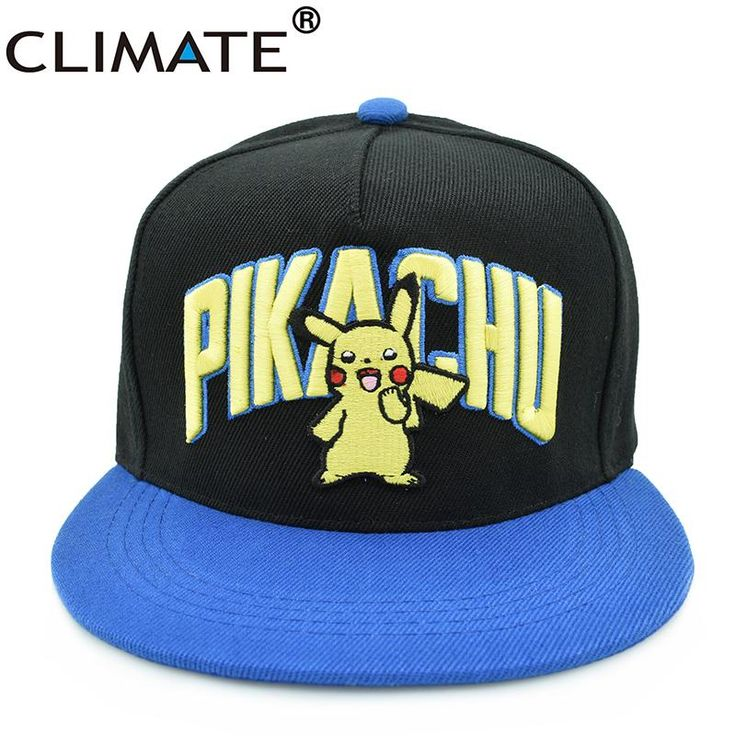 [Visit to Buy] CLIMATE Youth Pocket Monster GO Cute Pikachu Flat Snapback Caps Hip Hop 3D Embroidery Girls Boys Adult Men Women Pikachu Hats #Advertisement