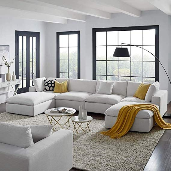 Modway Eei 3362 Whi Commix Down Filled Overstuffed 6 Piece Sectional Sofa Set White Perfecthome Livingroom Home Sofa White Sofa Design Sectional Sofa Sofa Set