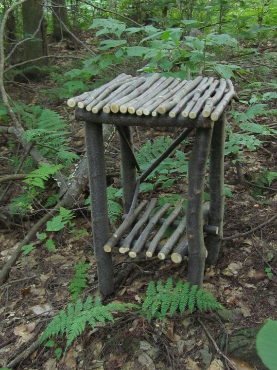 Rustic Twig Table Sweet Birch Wood with a Bottom Shelf