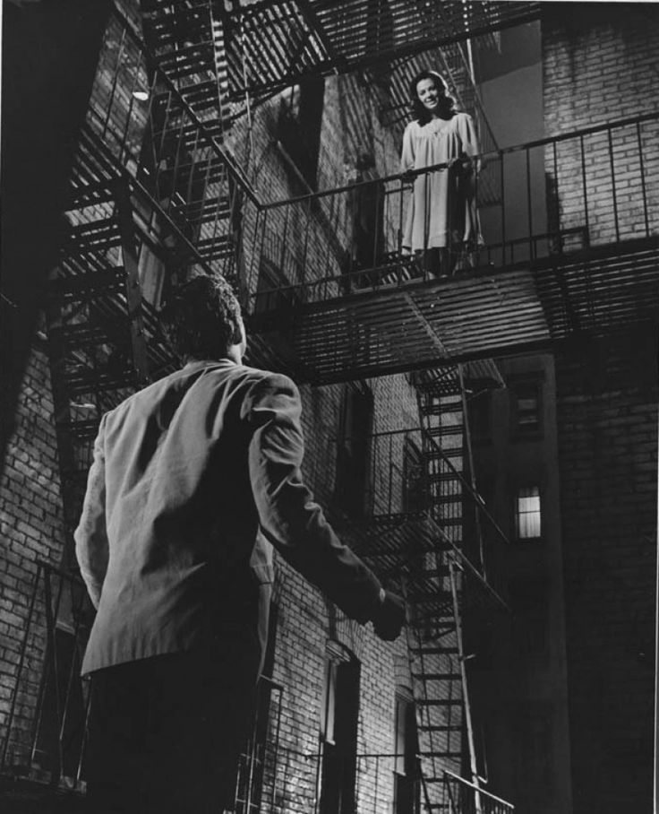 "Richard Beymer (Tony) and Natalie Wood (Maria) - West Side Story directed by Jerome Robbins and Robert Wise (1961) - Play ""Romeo and Juliet"" by William Shakespeare #leonardbernstein"