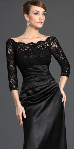 My next mother-of-the-bride dress?  Love this!!   Black Lace Evening Gown By Svetlana