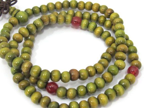 108 Green color wooden mala Bead supplies with Guru Bead - 6 mm size mala making beads - ML051B108 Green color wooden mala Bead supplies with Guru Bead - 6 mm size mala making beads - ML051B