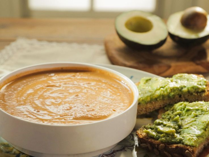 Tomato Bisque with Cashew Cream recipe from Trisha Yearwood via Food Network going to try coconut milk instead of cashew cream