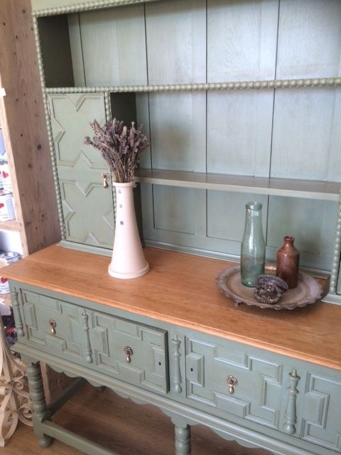Stunning Oak Dresser Painted In General Finishes Milk Paint In Basil And  Finished With Varnish And Van Dyke Brown Glaze.