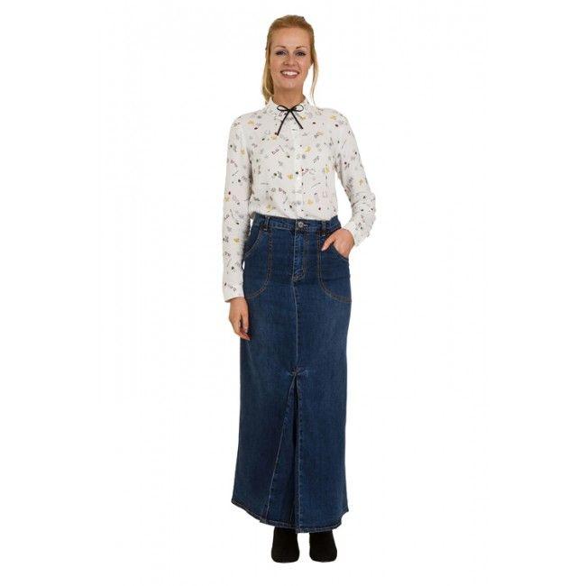 USKEES MARIA Maxi Denim Skirt - Midwash #maxidenimskirt #modestfashion