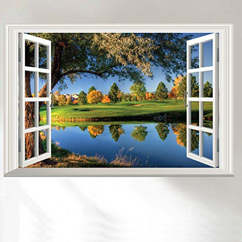 Dnven 24w X 16h 3D High Definition Peaceful Lake Big Trees Clean Rivers Nature Forests Scenery False Faux Window Frame Window Mural Vinyl Bedroom Living Room Playroom Wall Decals Stickers * You can get more details by clicking on the image.