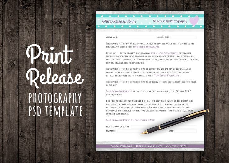 Print Release Form Template Contract by Studio29 on @creativemarket