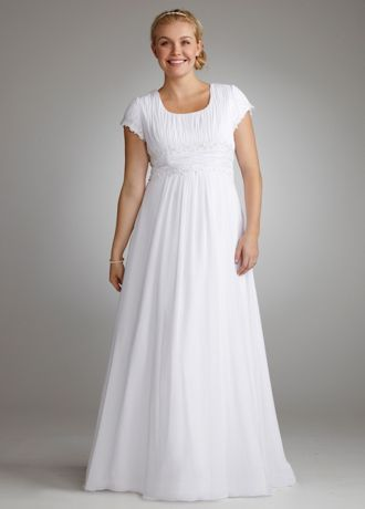 """Add coverage without sacrificing style in this gorgeous chiffon gown.  David's Bridal Woman- Plus Size Extra Length Wedding Dress  4"""" Extra Length Wedding Dress  Short sleeve bodice features subtle draping and beaded empire waist for a classic yet stunning look.  Lightweight chiffon shapes a soft A-Line silhouette that slims and lengthens.  Chapel train. Fully lined. Back zip. Imported polyester. Dry clean only.  Coordinating Flower Girl: Style FG9743 available in white and ivory (special"""