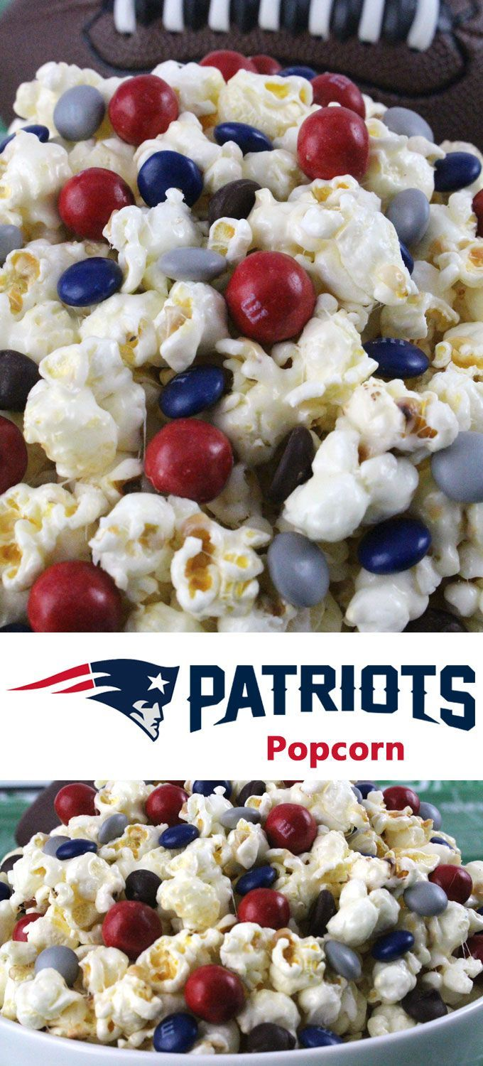 New England Patriots Popcorn for those New England Patriots fans in your life. Sweet, salty, crunchy and delicious and it is extremely easy to make. This delicious popcorn will be perfect at your next game day football party. a NFL playoff party or a Super Bowl party. Follow us for more fun Super Bowl Food Ideas.
