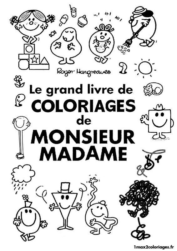 8 best monsieur madame images on pinterest craft french - Coloriage de monsieur madame ...