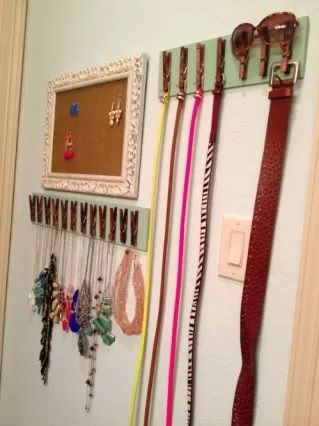 Pegs for belt and jewellery storage (stick on hangers?)
