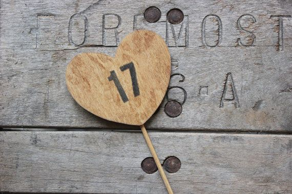 rustic heart table numbers on a stick . table by MontanaSnow