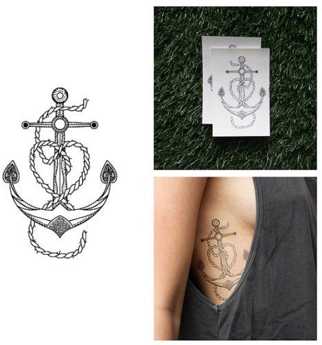 Vintage Anchor Heart Temporary Tattoo (Set of 2) | Tattoos