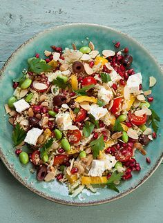 moroccan couscous salad recipe with feta and pomagranate seeds