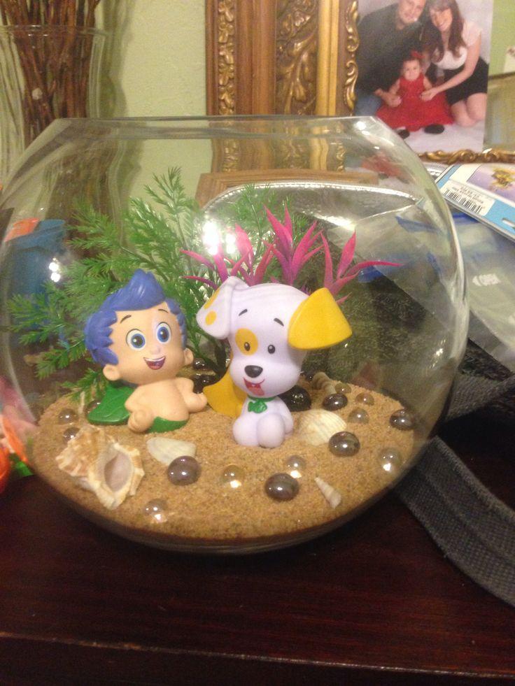 Bubble guppies centerpiece (use bubble guppies bath toys, sand and decorative aquarium trees)