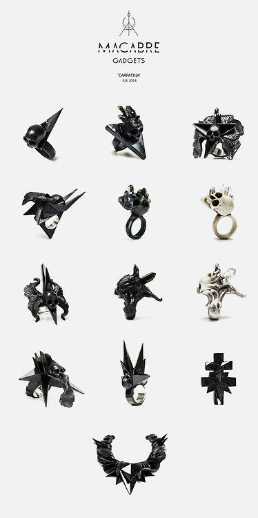Macabre Gadgets, jewelry, rings, accessories, skulls, skeletons, morbid, macabre