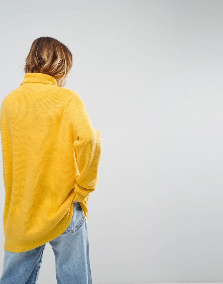 ASOS Sweater in Fluffy Yarn and Roll Neck - Yellow