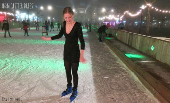 Christmas look - dress, glitter, skates