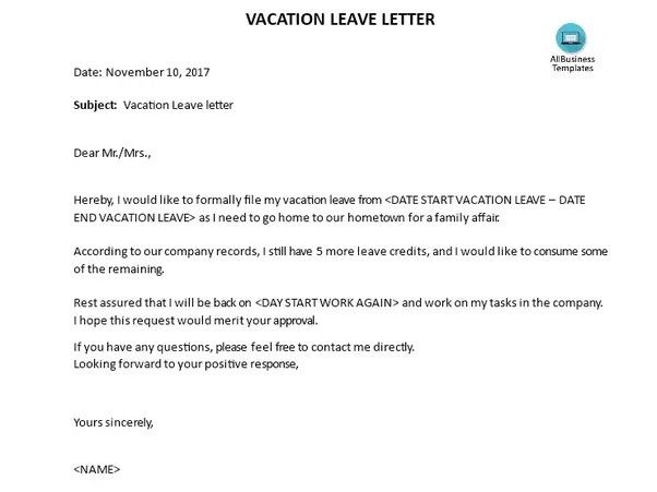Vacation Request Letter Samples Lovely What Are Some Examples Of A Vacation Leave Letter Quora Lettering Leave Letter Letter Example