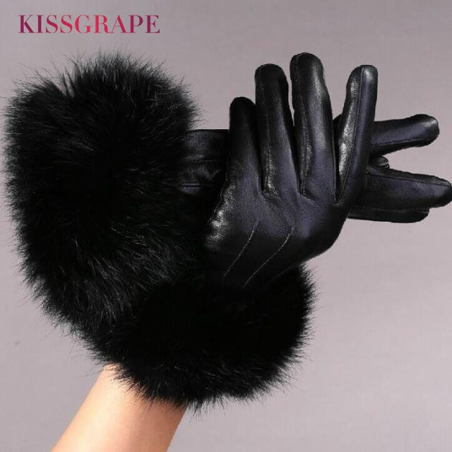 ==> [Free Shipping] Buy Best Luxury Brand 2017 Winter Women's Genuine Leather Gloves Female Warm Natural Sheep Leather Gloves with Super Big Rabbit Fur Online with LOWEST Price | 32817999432