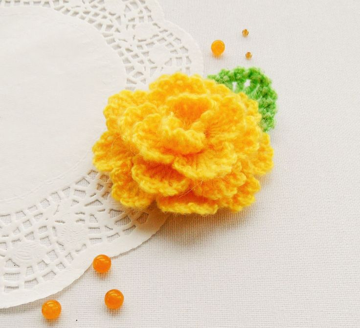 CROCHET YELLOW MOHAIR FLOWER ROSE  BROOCH APPLIQUE DECORATION MOTHER'S DAY GIFT in Crafts, Needlecrafts & Yarn, Crocheting & Knitting | eBay!