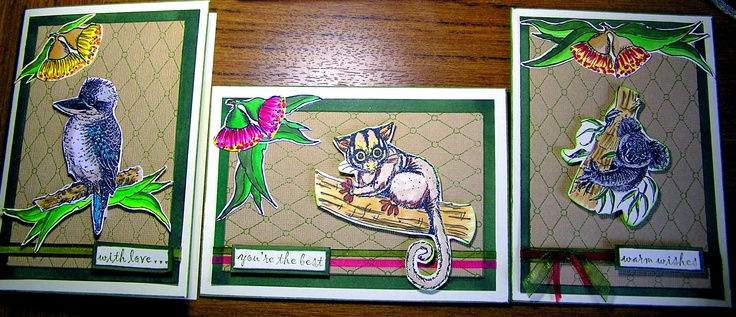 My Australiana cards using Kaszazz Alcohol Ink Markers