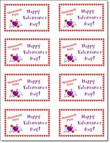 Classroom Freebies: Laura's Free Valentines Day Homework Passes