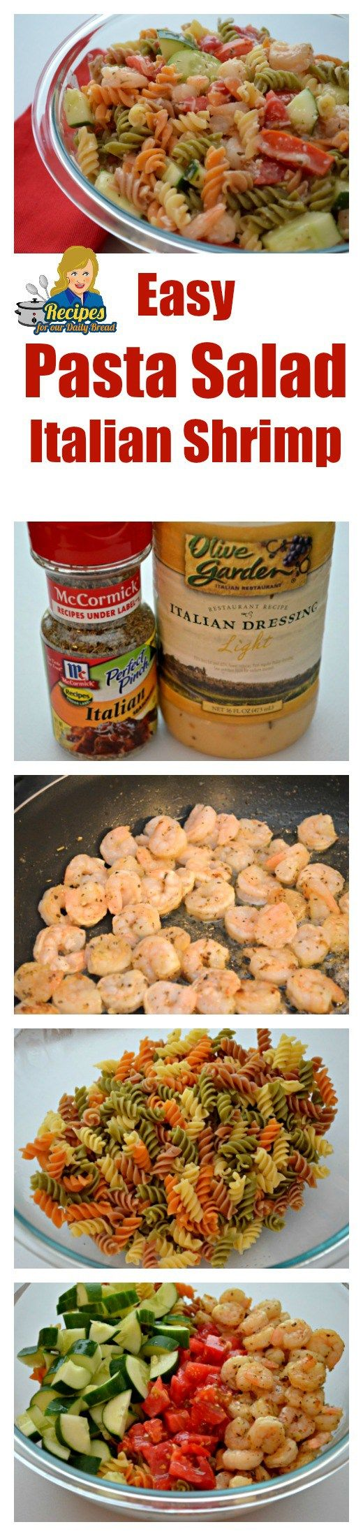 This Easy Pasta Salad Italian Shrimp is made with a bottle of Italian dressing, Italian seasoning, pasta, shrimp, cucumber, tomato and Italian Cheese.