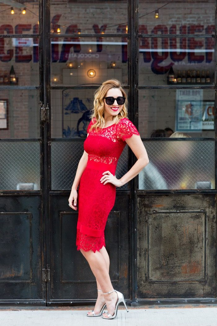 Christine Cameron Wearing Nicole Miller Red Lace Midi Length Dress And Zara Silver Stry Sandals 3